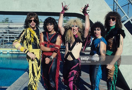 Jay Jay French, Eddie Ojeda, Dee Snider, AJ Pero and Mark Mendoza of Twisted Sister, group portrait, on the set of the video shoot for their single 'I Wanna Rock', Los Angeles, California, United States, 1984.