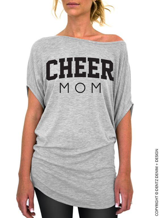 """Use coupon code """"pinterest"""" Cheer Mom Shirt - Gray Longer Length Slouchy Tee (Small - Plus Sizes) by DentzDesign"""