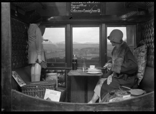 Interior of a railway carriage, c.1920