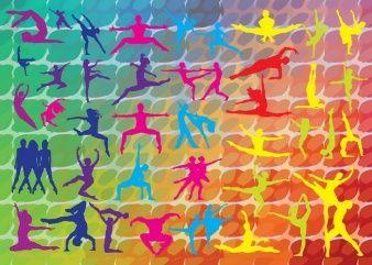 gráficos coloridos de dança