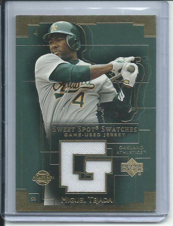 miguel tejada 2003 upper deck sweet spot swatch game used jersey  baseball card #mt Oakland As