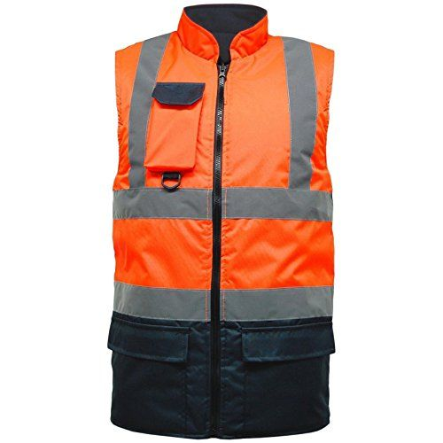 Hi Viz Reversible Bodywarmer Jacket Warm Mens Coat Workwear Security Waterproof