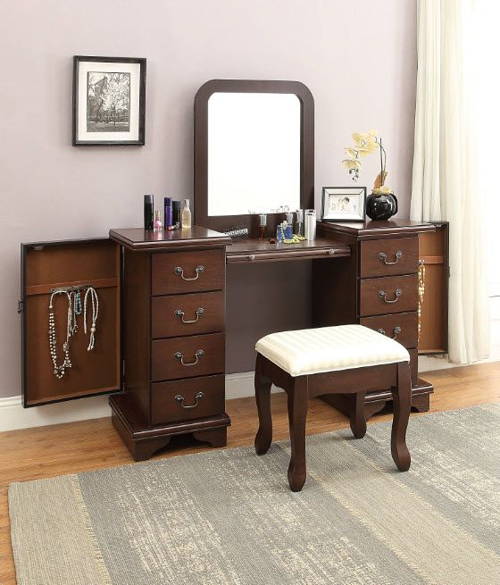 The Louis Philippe Vanity Desk And Stool Showcases Style That Is Designed To Impress Made Of High Quality In 2020 Hidden Jewelry Storage Vanity Set Jewellery Storage