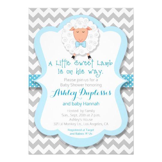 Lamb Boy Baby Shower Invitation