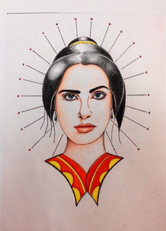 Salma Hayek Geisha Graphic pen and coloured pencil