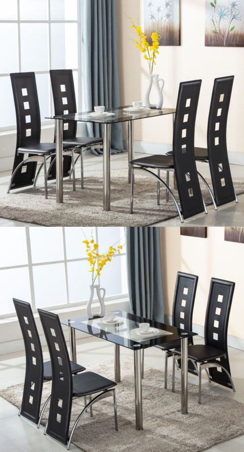5 Piece Glass Dining Table Set With 4 Leather Chairs Kitchen Room Furniture Living Room Sets Furniture Round Dining Room Sets Glass Dining Table Set