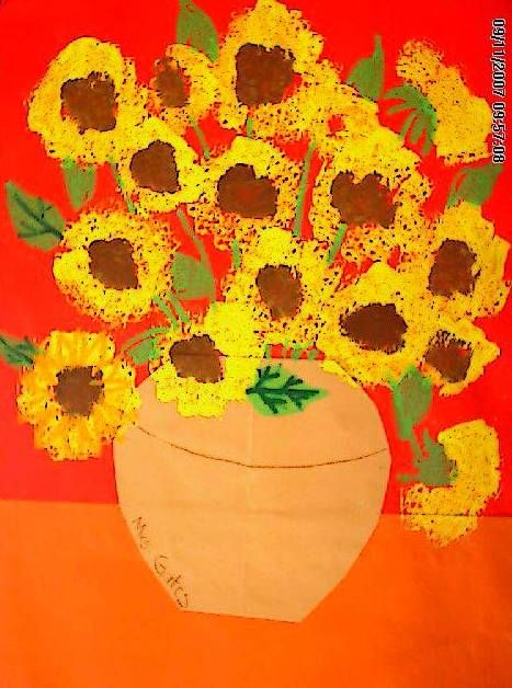 Sunflowers salutes Vincent Van Gogh with a Kindergarten cut-paper ...