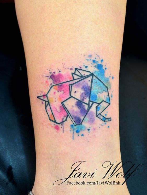 ... origami ele... Origami Elephant Tattoo