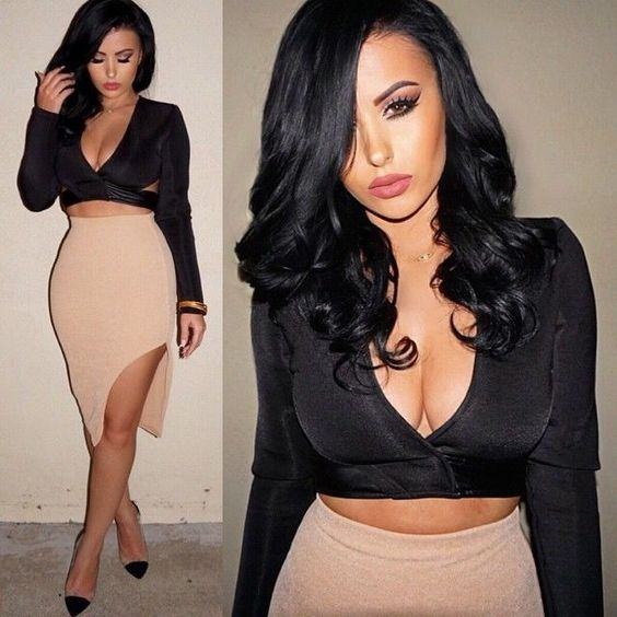 Sexy 2-pieces Women black backless Bodycon bandage Dress Cocktail Party Clubwear #other #StretchBodycon #Clubwear