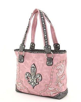 pink & black with rhinestones & fleur de lis - bolso - hermoso