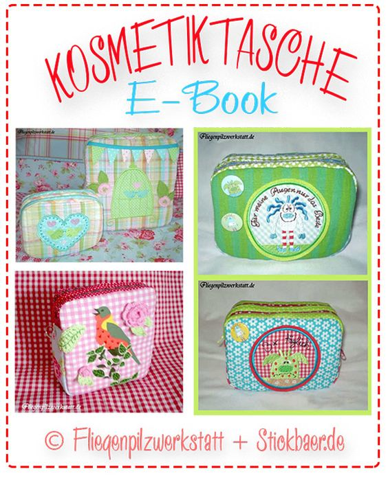 Ebook Kosmetiktaschen  Die Datei beinhaltet die Schnittmuster für die beiden Taschen sowie eine farbliche , gut verständliche Fotoanleitung, in der ausführlich alle Nähschritte beschrieben sind.5,-€