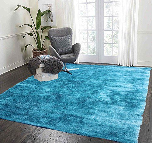 La Rug Linens 8 Feet By 10 Feet Pile Rug Fluffy Modern Home Store Kitchen Outdoor Indoor Bedroom Living Room Throw Carpet Floor Shag Rug Turquoise Blue Two Tone Living Room Carpet Buying Carpet Living