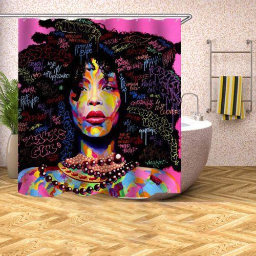 Waterproof African Women Black Shower Curtain Girl W Purple Hair