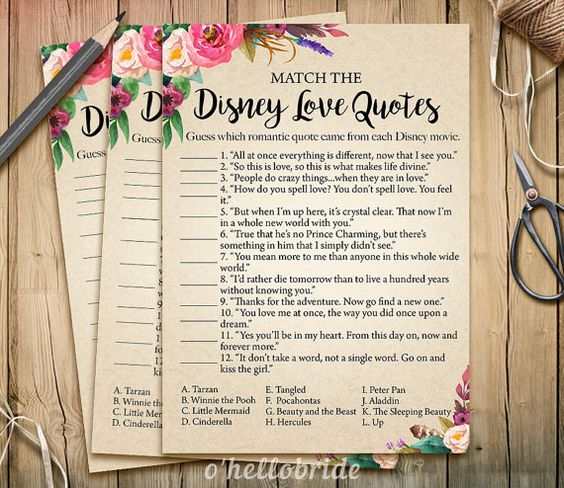 Disney Love Quotes Match Game  Printable Bridal by ohellobride
