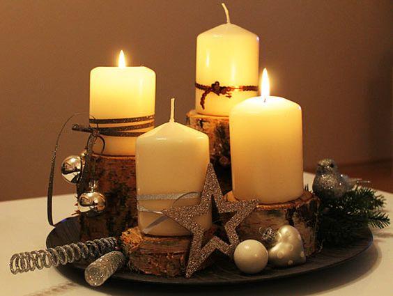 Bowl and candles  Stroiki bożonarodzeniowe  Pinterest