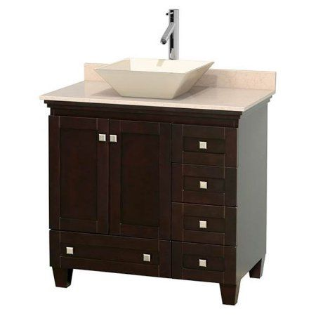 Wyndham Collection Acclaim 36 inch Single Bathroom Vanity in Espresso, Ivory Marble Countertop, Pyra Bone Porcelain Sink, and No Mirror, Beige