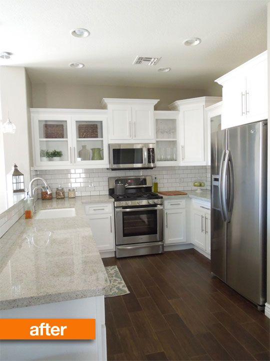 Before U0026 After: Upgrading A Builderu0027s Grade Kitchen   Granite Flooring,  Subway Tile Backsplash And Custom Cabinets