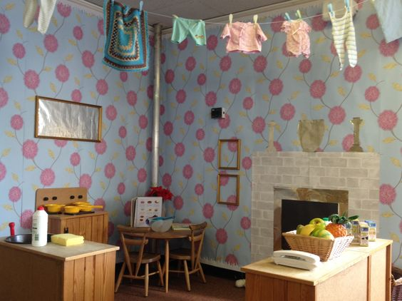 Home corner role play. I love the idea of real wallpaper