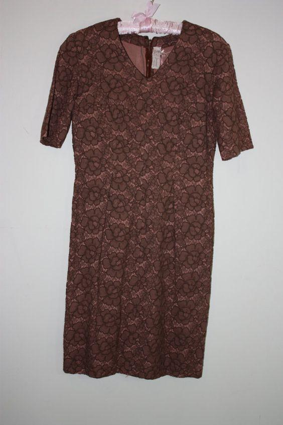 Vintage 1950's/1960's Brown Lace Dress by M L by missloulouscloset, £50.00