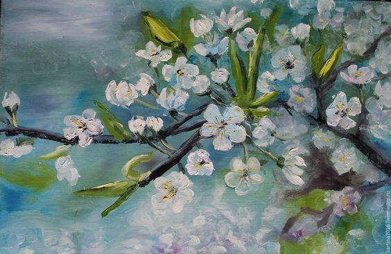 Купить Картина Весна - голубой, картина маслом, картина в подарок, картина на подрамнике, холст масло