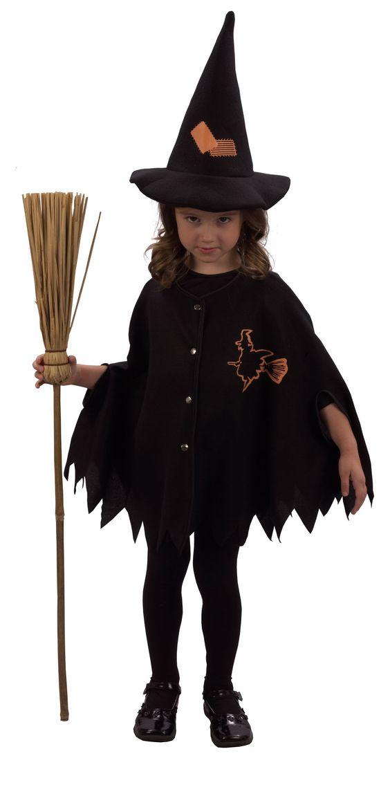 Déguisement sorcière fille Halloween : Ce déguisement Halloween de sorcière pour fille se compose d'une cape ample et dentelée munie de boutons d'attache sur l'avant et d'un chapeau pointu assorti. Une...
