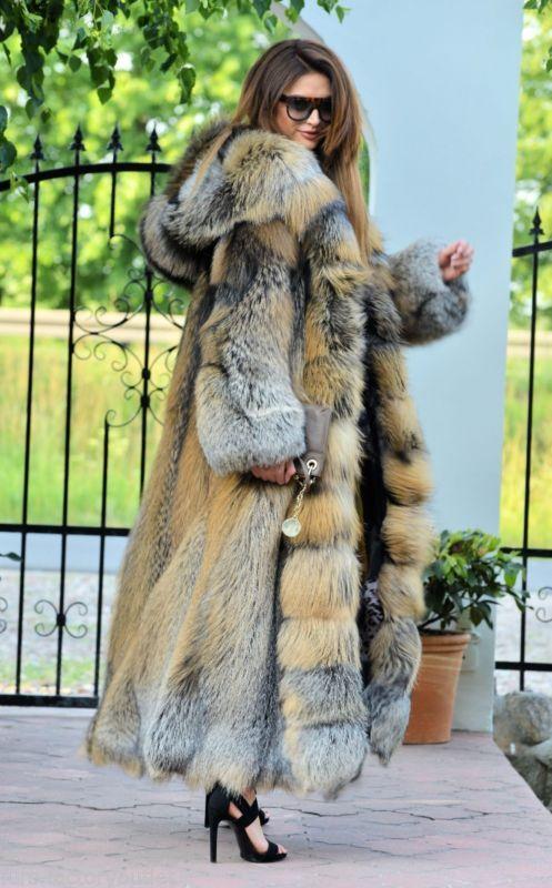 Details about NEW GOLD CROSS FOX LONG FUR COAT HOOD CLASS