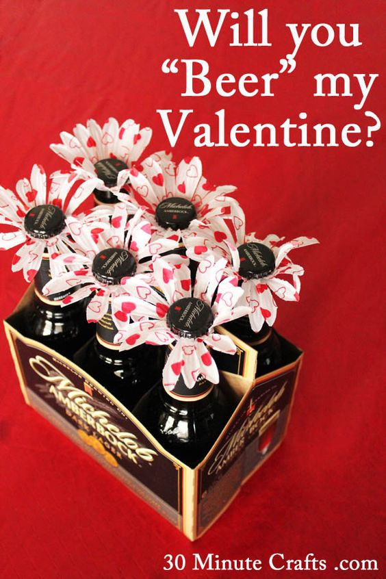 "Will you ""Beer"" my Valentine? Love this idea for my boyfriend! he absolutely loves beer!:"