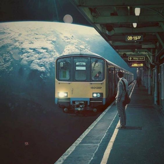 Interesting scene of a man waiting for a train in space with the earth behind it