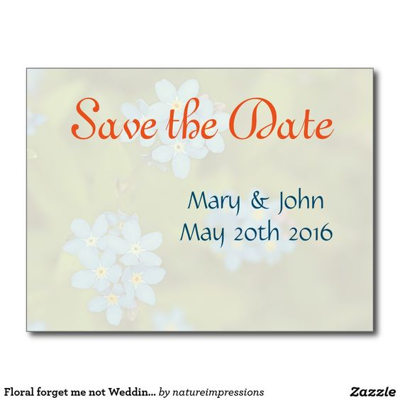 Floral forget me not Wedding Save the Date card