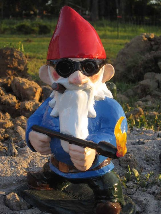 Combat garden gnome with flamethrower gardens awesome for Combat gnomes for sale