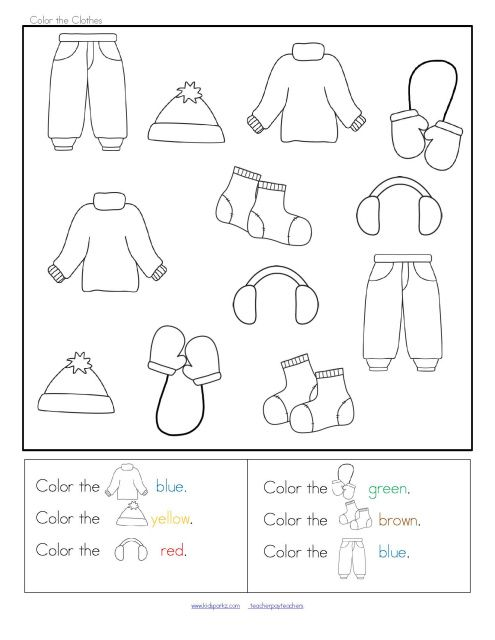 Clothes Sorting By Color ~ Winter clothes sort categorizing centers and printables