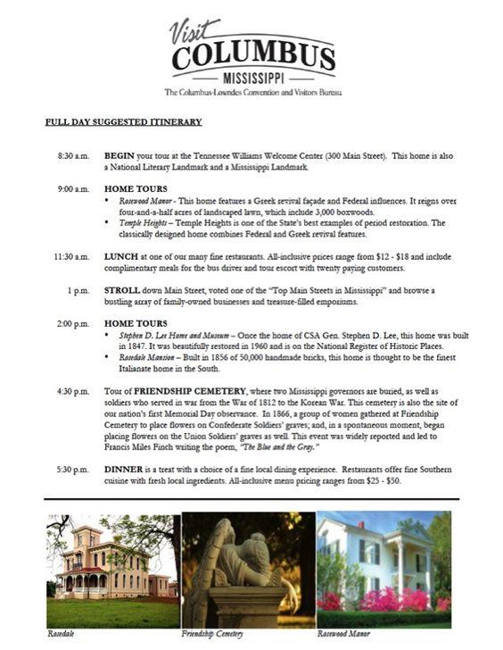 Columbus Convention and Visitors' Bureau | Sample Columbus Itineraries - Columbus, MS
