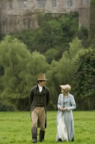 Northanger Abbey- I really like Catherine Morland's powder-blue, navy-inspired overcoat.: