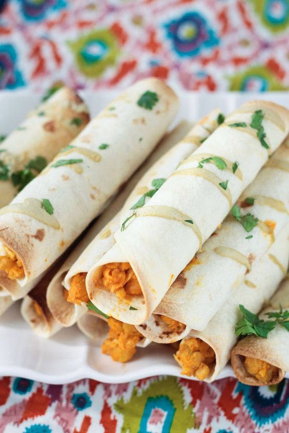 Baked Buffalo Chickpea and Artichoke Vegan Taquitos: