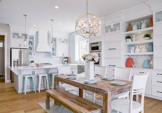 coral decor ideas Beach White kitchen with turquoise and coral decor