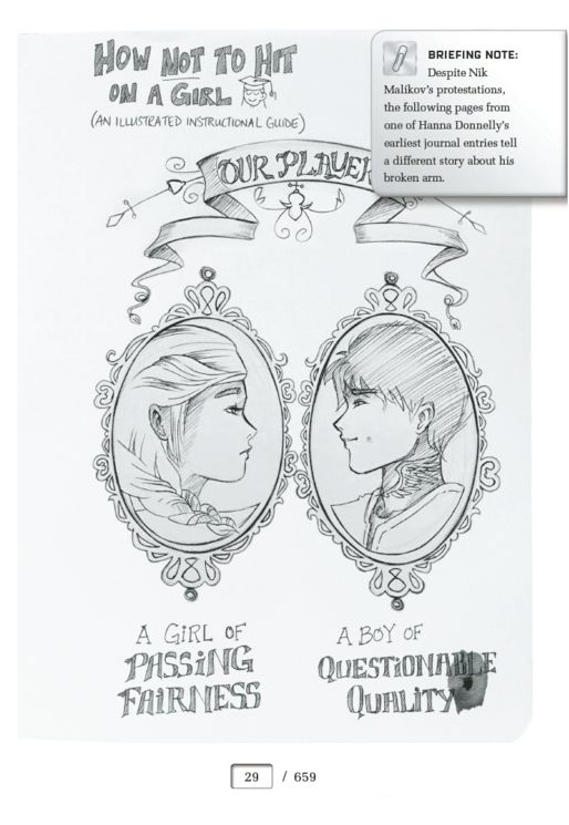 This illustrated journal page created by Marie Lu for Gemina by Amie Kaufman and Jay Kristoff gives readers their very first glimpse of protagonists Hanna and Nik.