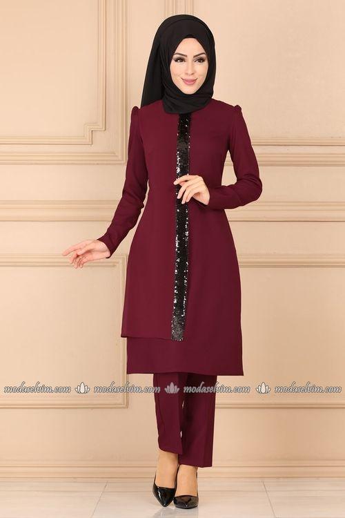 Modaselvim Kombin Sifon Detayli Ikili Tesettur Takim Asm2194 Bordo Giyim Elbise Bayan Ayakkabi