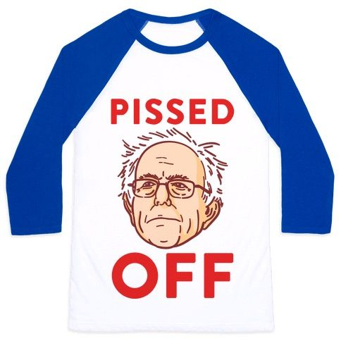 """This political humor design features the text """"Pissed Off"""" with an illustration of Bernie Sanders not happy with establishment politics and inequality in America. Perfect for a Bernie supporter, democrat, liberal, political rallies, political debates, sanders 2016, funny politics, political jokes and feeling pissed off about political corruption!"""