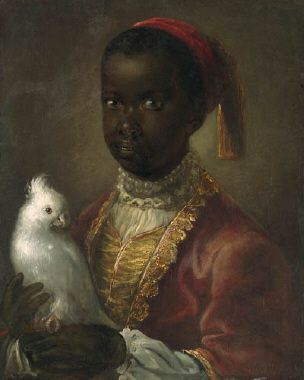 Portrait of a Blackamoor, half-length, in a gold-lined coat, holding a cockatoo : Circle of Alexis Grimou (1678-1733)
