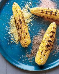 """Corn on the Cob with Seasoned Salts: """"Walk to pick it, run to cook it,"""" was the mantra back in the days when corn turned starchy within hours of harvesting. New varieties stay sweet and tender longer. Flavoring the ears here is a trio of seasoned salts.: Corn Turned, Corn Mmmmm, Bbq Corn, Delightful Corn, Delish Corn, Cob Brush, Salts Recipe"""