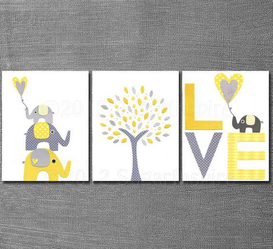 Yellow Kids Room Decor: Yellow And Grey Nursery Art Print Set, Kids Room Decor