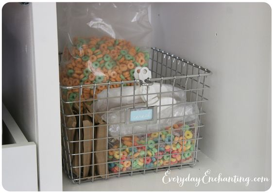 Store bags of cereal in baskets to keep them organized.