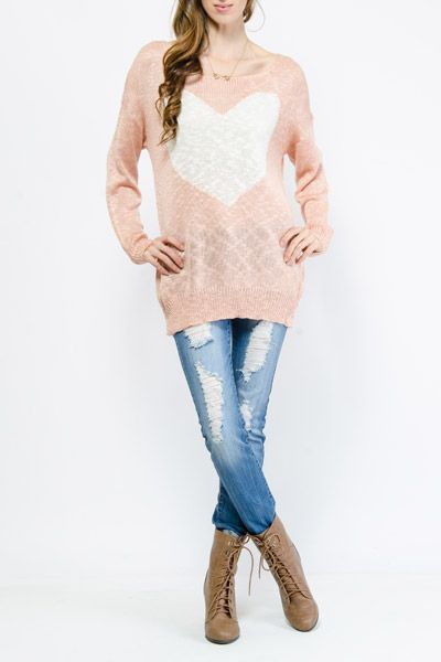 Heart Print Knit Pullover $15.99