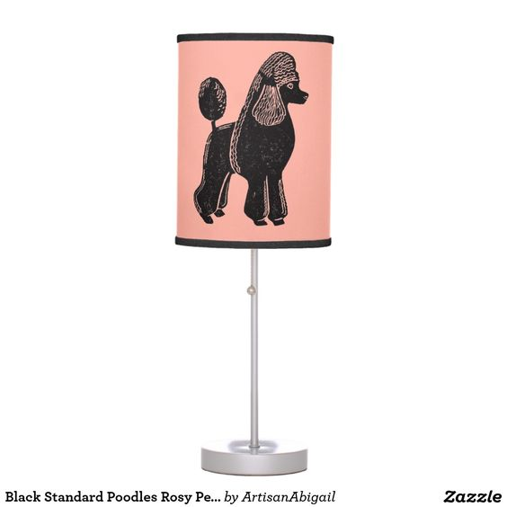 Black Standard Poodles Rosy Peach Table Lamp