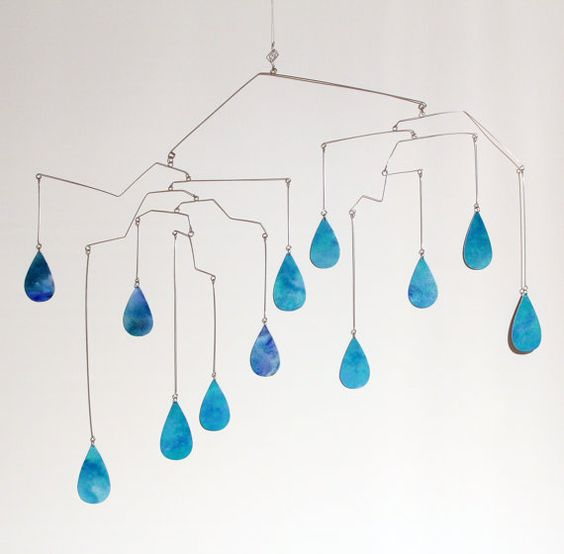 Rain Drops Art Mobile  Cool Winter Hanging Mobiles  by skysetter