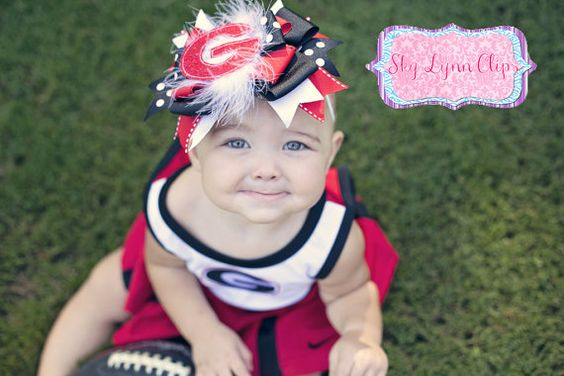 Georgia Bulldog UGA Inspired OTT Bow by SkyLynnClips on Etsy, $12.00