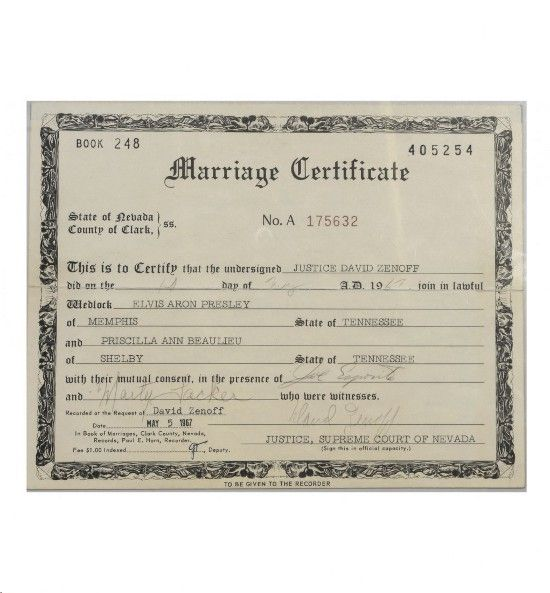 Elvis-Signed Marriage Certificate for George and Barbara Klein - marriage certificate