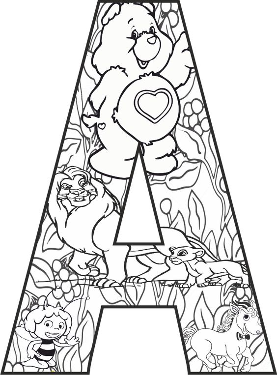 A Harfi Mandala Calismasi Disney Alphabet Boyama Sayfalari Mandala