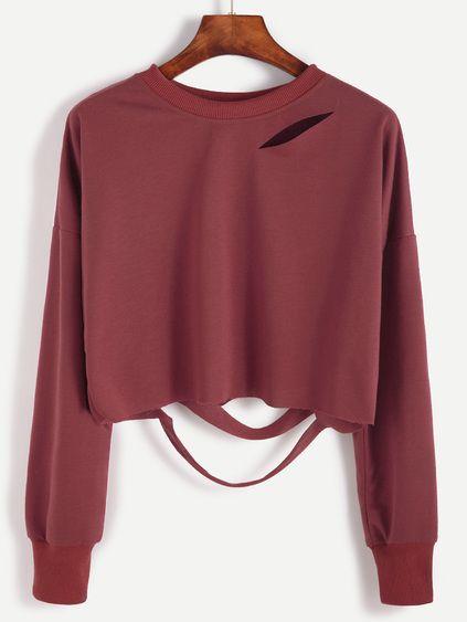 Brick Red Drop Shoulder Cut Out Crop T-shirt