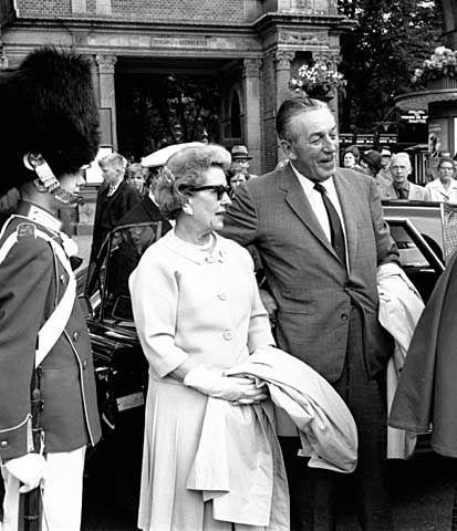 Walt Disney and Lillian Disney in the Tivoli amusement park in Copenhagen, Denmark. 1964-06-24